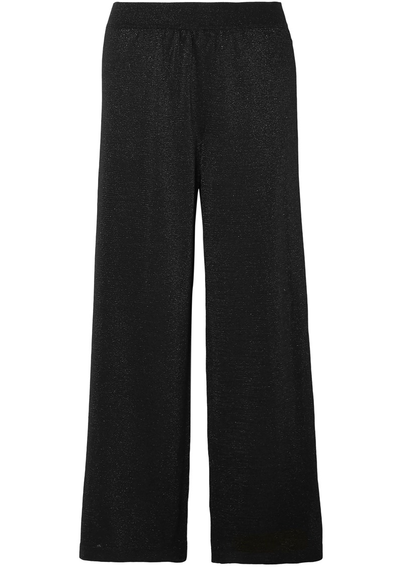 Missoni Woman Metallic Crochet-knit Wide-leg Pants Black