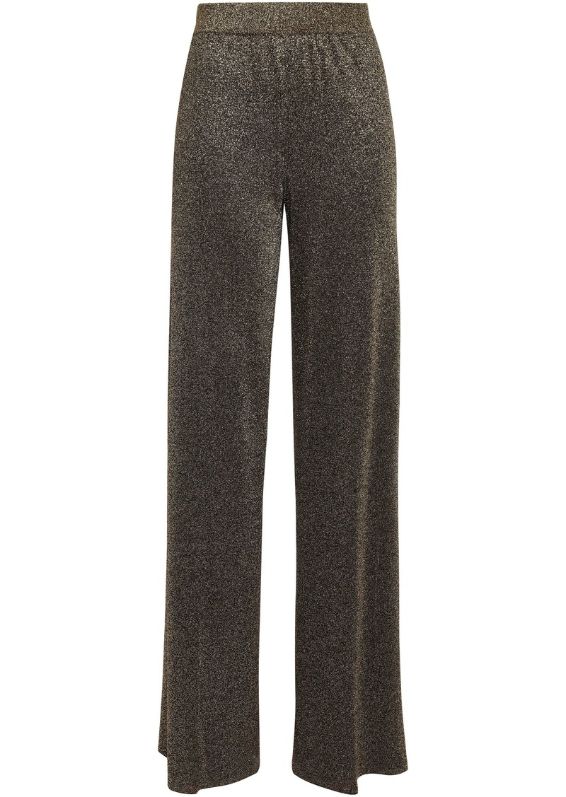 Missoni Woman Metallic Crochet-knit Wide-leg Pants Gold