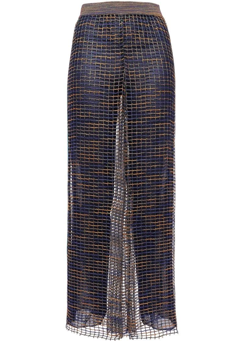 Missoni Woman Metallic Crochet-knit Wide-leg Pants Navy