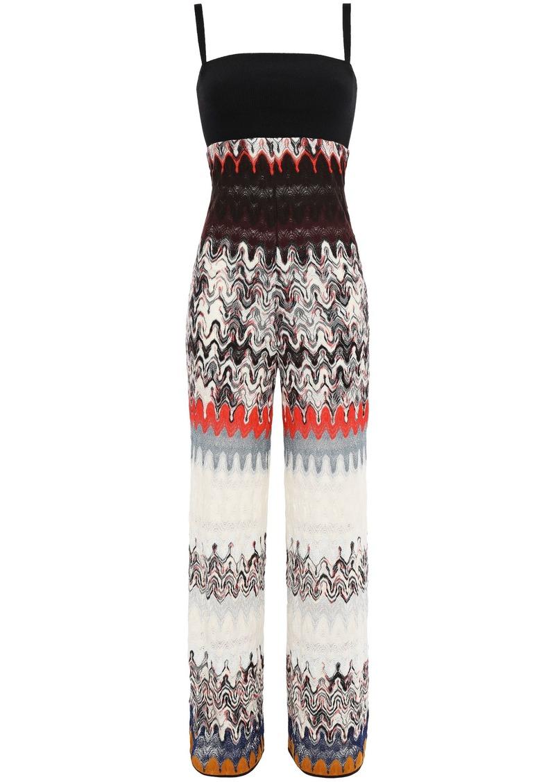 Missoni Woman Metallic Crochet-knit Wool-blend Jumpsuit Black
