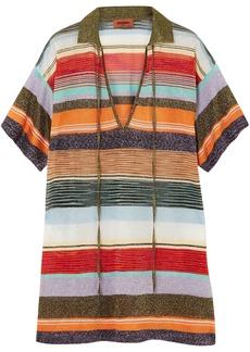 Missoni Woman Metallic Intarsia-knit Top Orange