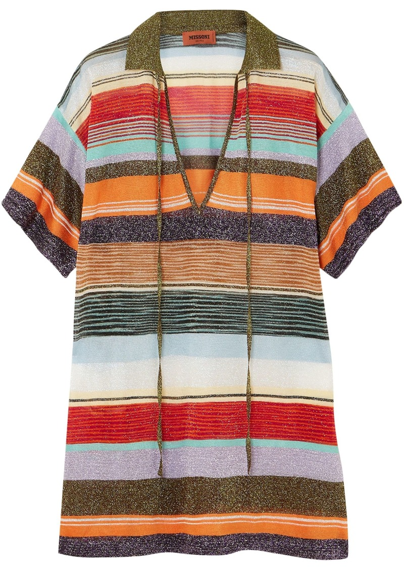 Missoni Woman Metallic Intarsia-knit Top Orange