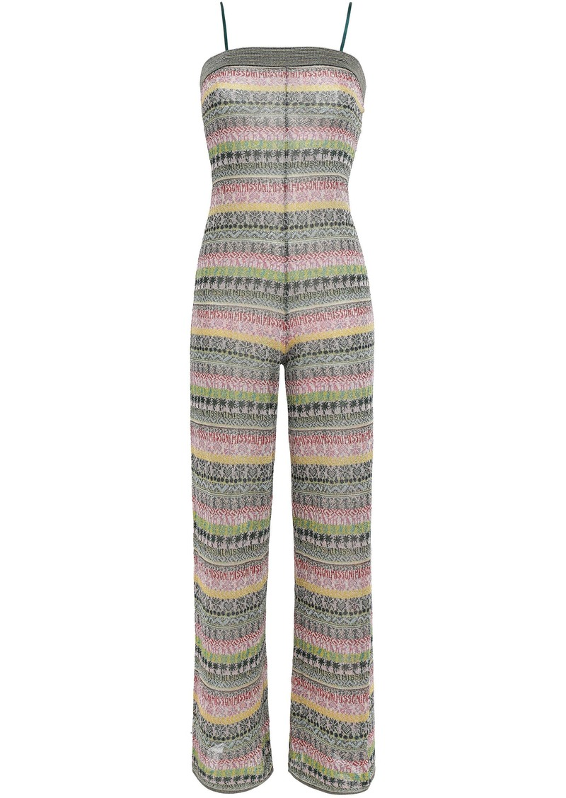 Missoni Woman Metallic Jacquard-knit Jumpsuit Emerald