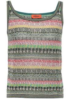 Missoni Woman Metallic Jacquard-knit Tank Dark Green