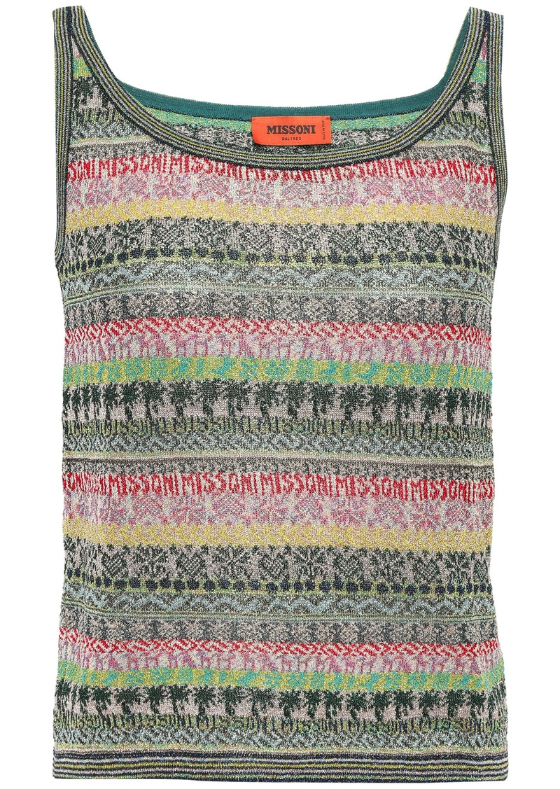 Missoni Woman Metallic Jacquard-knit Tank Dark Green