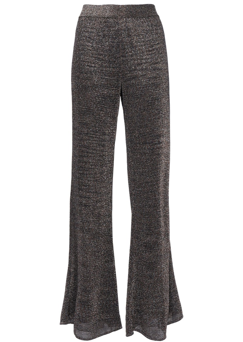 Missoni Woman Metallic Knitted Flared Pants Chocolate