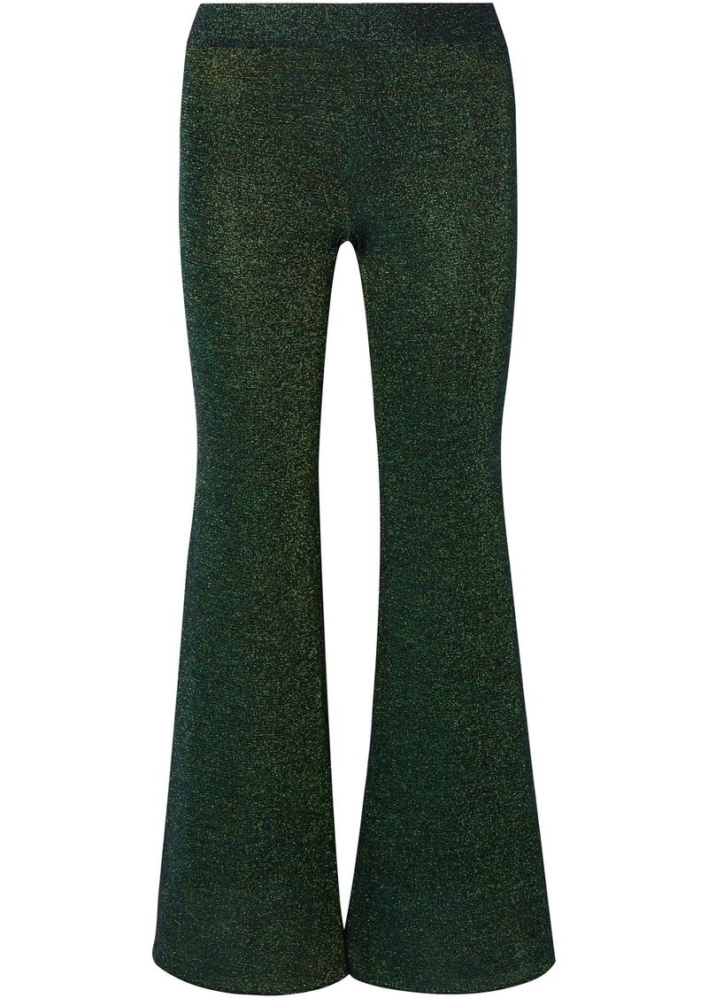 Missoni Woman Metallic Knitted Flared Pants Emerald
