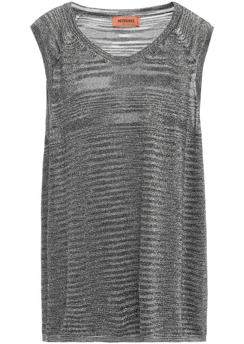 Missoni Woman Metallic Knitted Top Silver