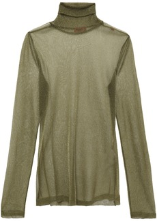 Missoni Woman Metallic Knitted Turtleneck Top Sage Green