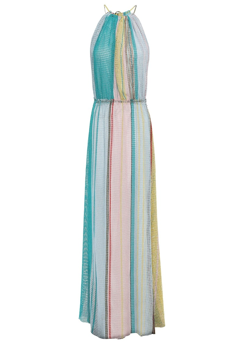 Missoni Woman Color-block Metallic Open-knit Maxi Dress Turquoise