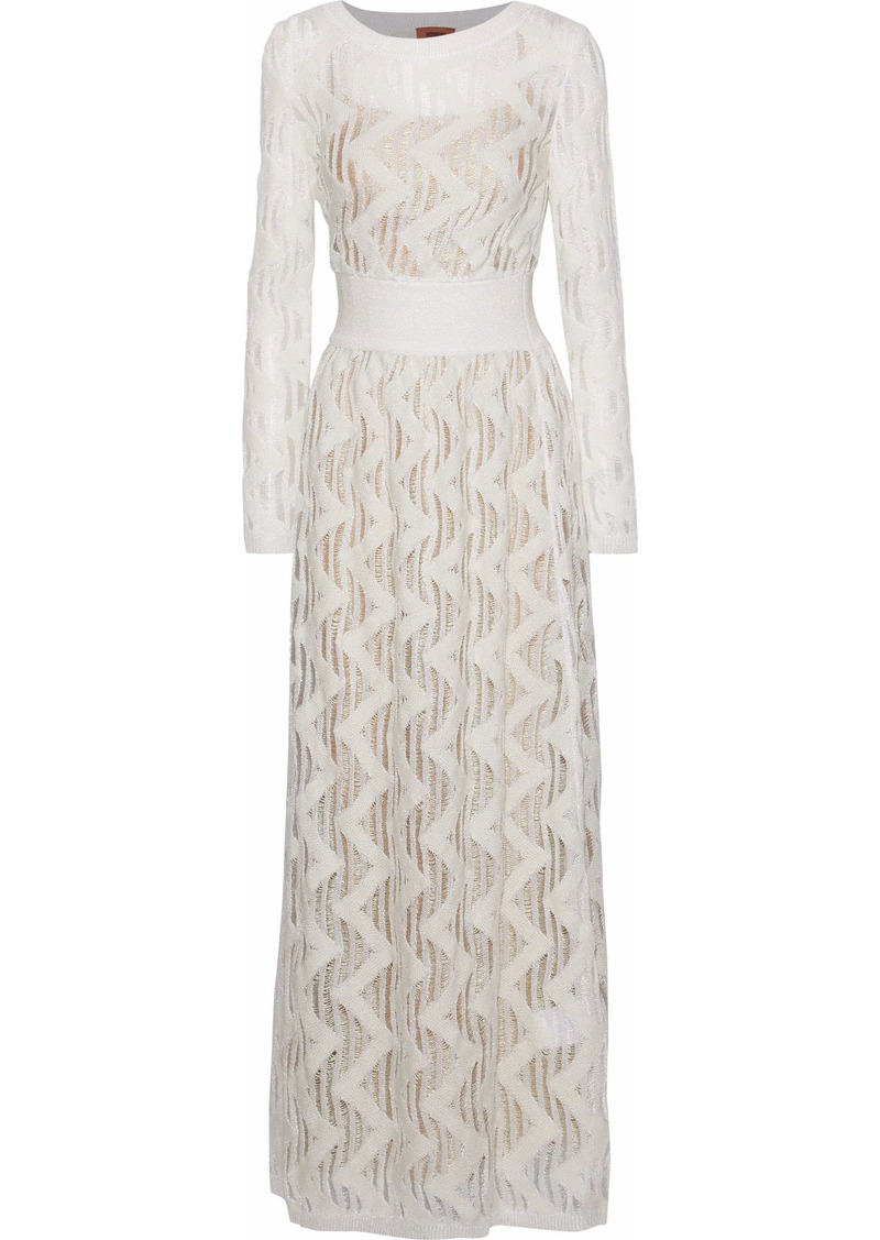 Missoni Woman Metallic Open-knit Maxi Dress Ivory