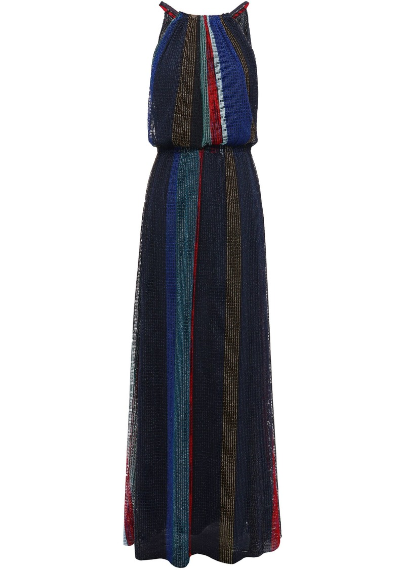 Missoni Woman Color-block Metallic Open-knit Maxi Dress Black