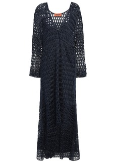 Missoni Woman Wrap-effect Metallic Open-knit Midi Dress Navy