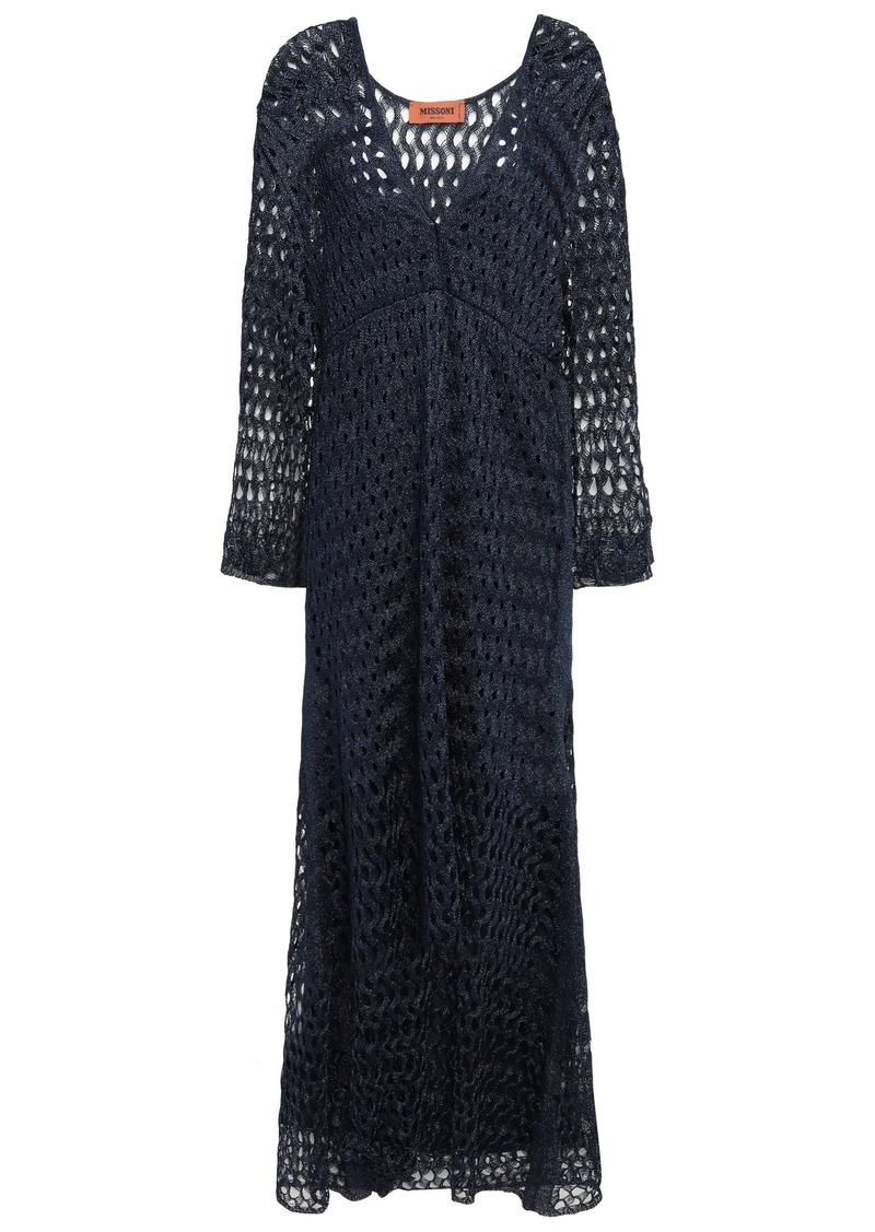 Missoni Woman Wrap-effect Metallic Open-knit Midi Dress Navy