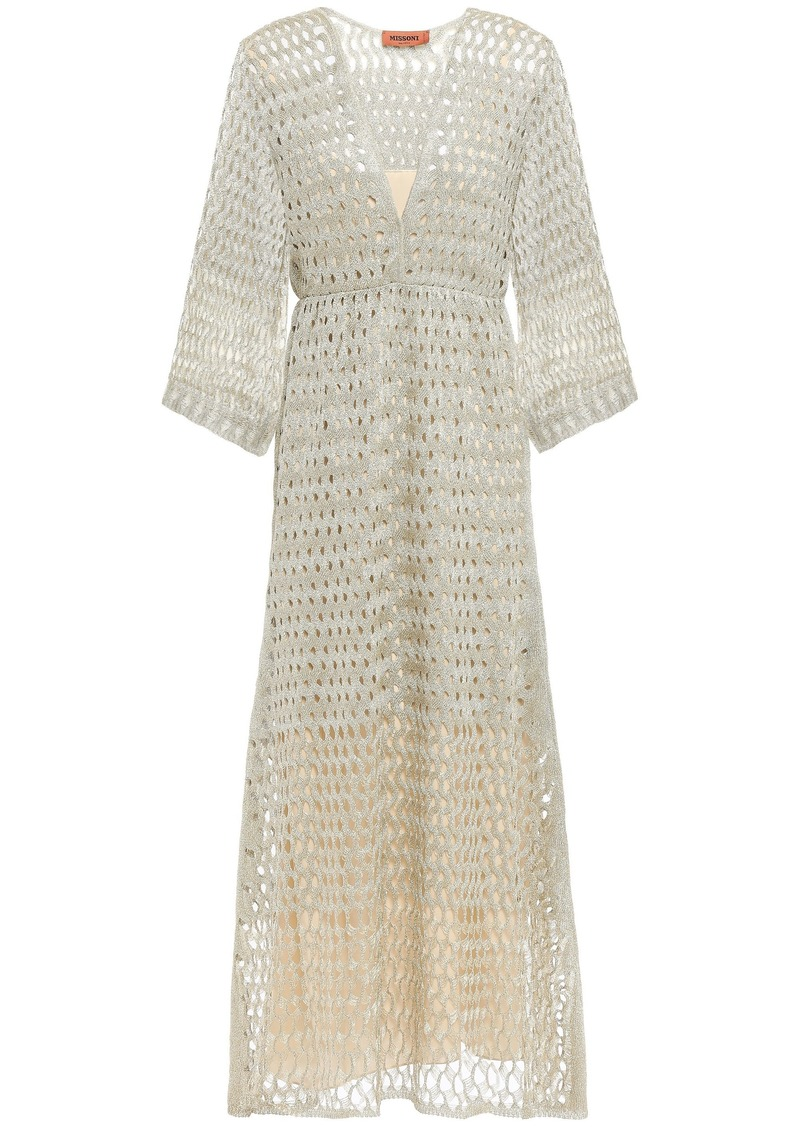 Missoni Woman Wrap-effect Metallic Open-knit Midi Dress Platinum