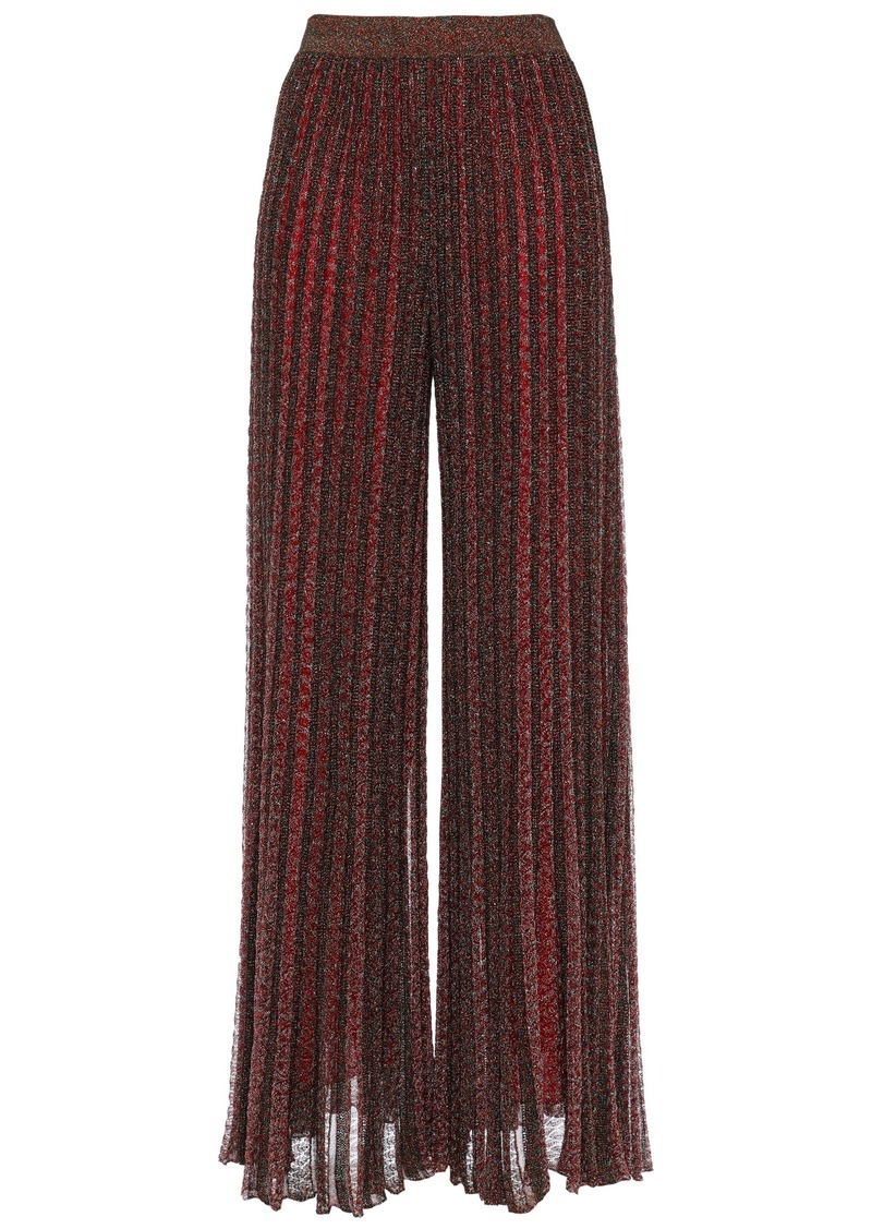 Missoni Woman Metallic Plissé Crochet-knit Wide-leg Pants Burgundy