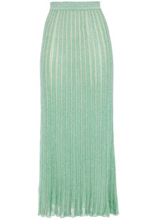 Missoni Woman Striped Metallic Crochet-knit Silk-blend Midi Skirt Light Green