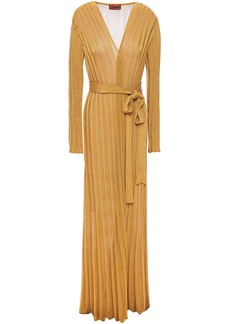 Missoni Woman Metallic Ribbed-knit Cardigan Gold