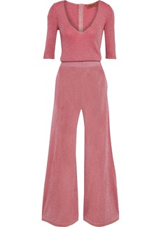 Missoni Woman Metallic Ribbed-knit Jumpsuit Pink
