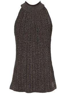 Missoni Woman Metallic Ribbed-knit Top Chocolate