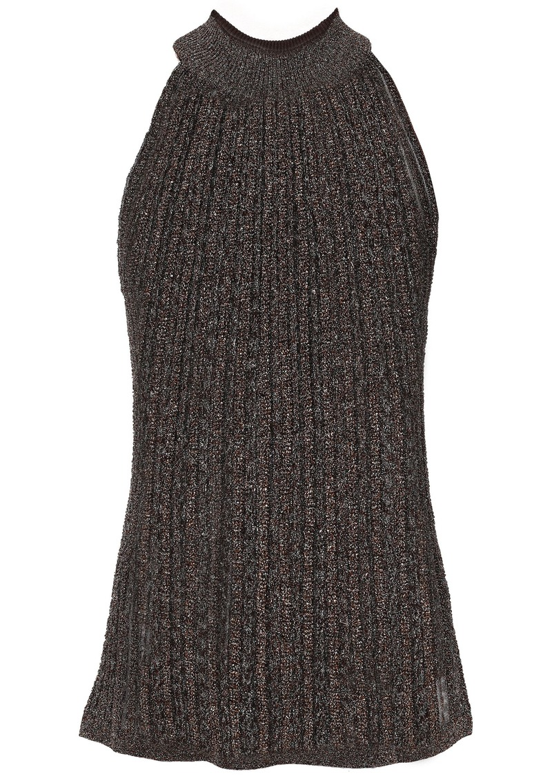 Missoni Woman Metallic Ribbed-knit Top Chocolate