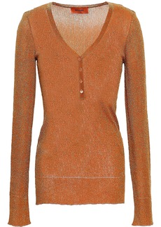 Missoni Woman Metallic Ribbed-knit Top Copper