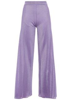 Missoni Woman Metallic Ribbed-knit Wide-leg Pants Lavender
