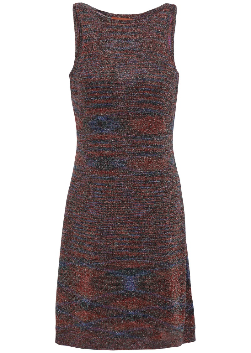 Missoni Woman Metallic Stretch-knit Mini Dress Bronze