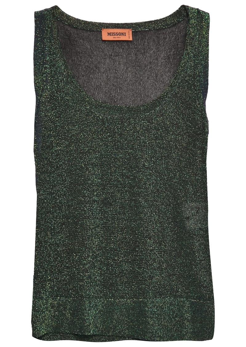 Missoni Woman Metallic Crochet-knit Tank Dark Green