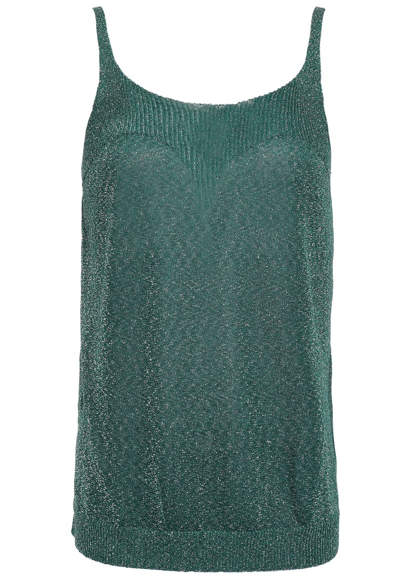 Missoni Woman Metallic Stretch-knit Tank Emerald
