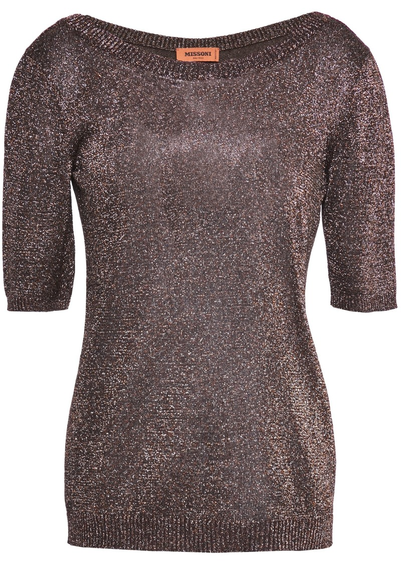Missoni Woman Metallic Stretch-knit Top Bronze