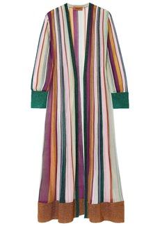 Missoni Woman Metallic Striped Crochet-knit Cardigan Purple