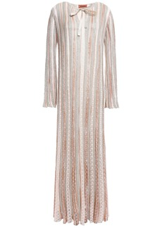 Missoni Woman Metallic Striped Crochet-knit Maxi Dress Neutral