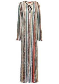 Missoni Woman Metallic Crochet-knit Maxi Dress Sage Green
