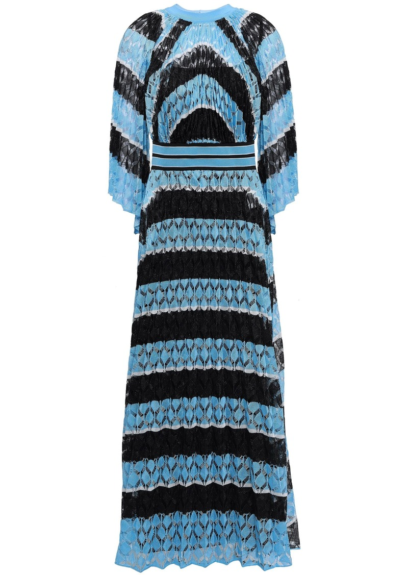 Missoni Woman Pleated Crochet-knit Maxi Dress Sky Blue