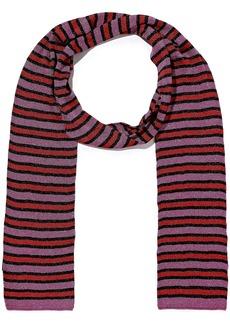 Missoni Woman Metallic Striped Crochet-knit Scarf Purple
