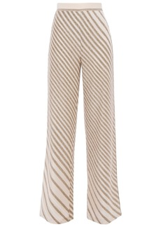 Missoni Woman Metallic Striped Crochet-knit Wide-leg Pants Cream