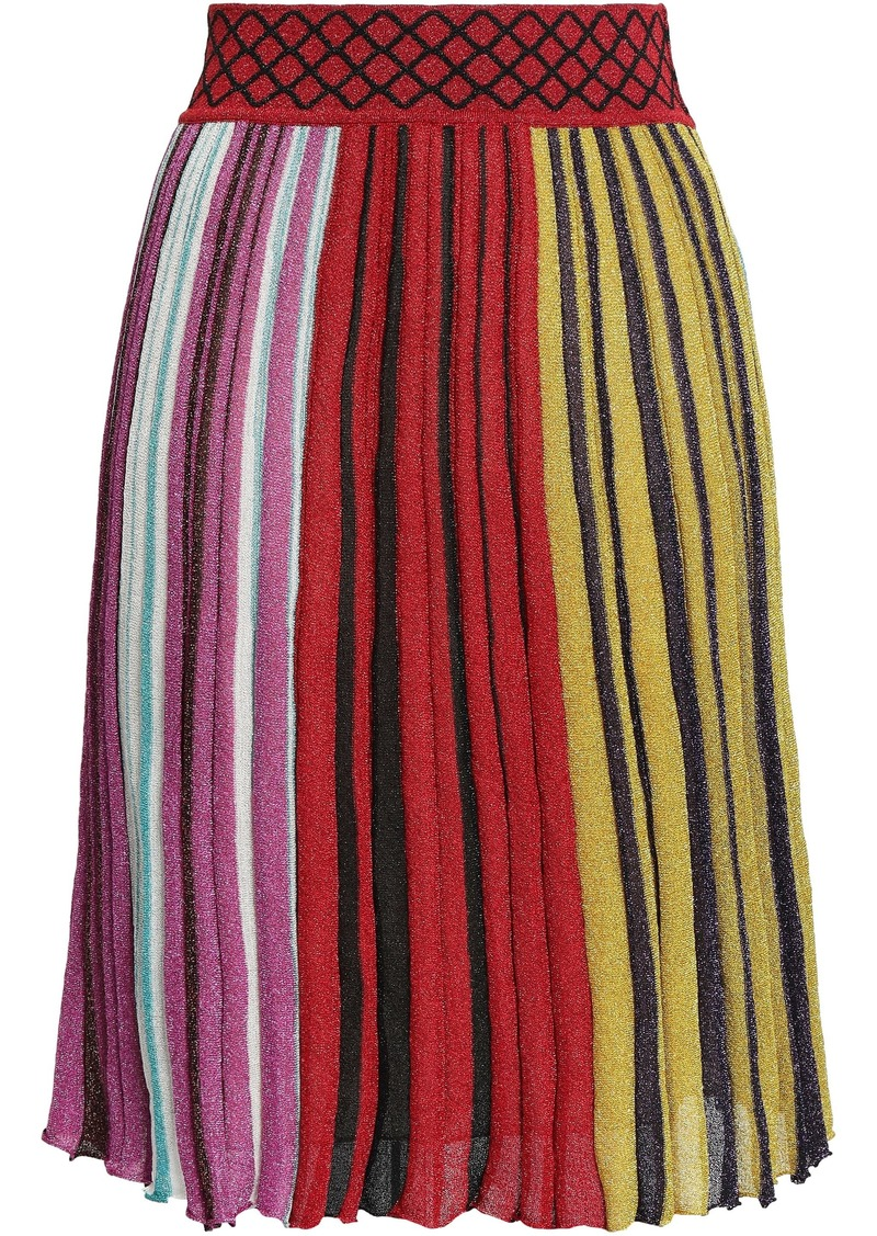 Missoni Woman Metallic Striped Ribbed-knit Skirt Red