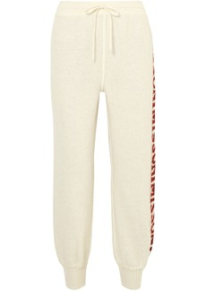 Missoni Woman Monogram-trimmed Brushed Crochet-knit Track Pants Cream