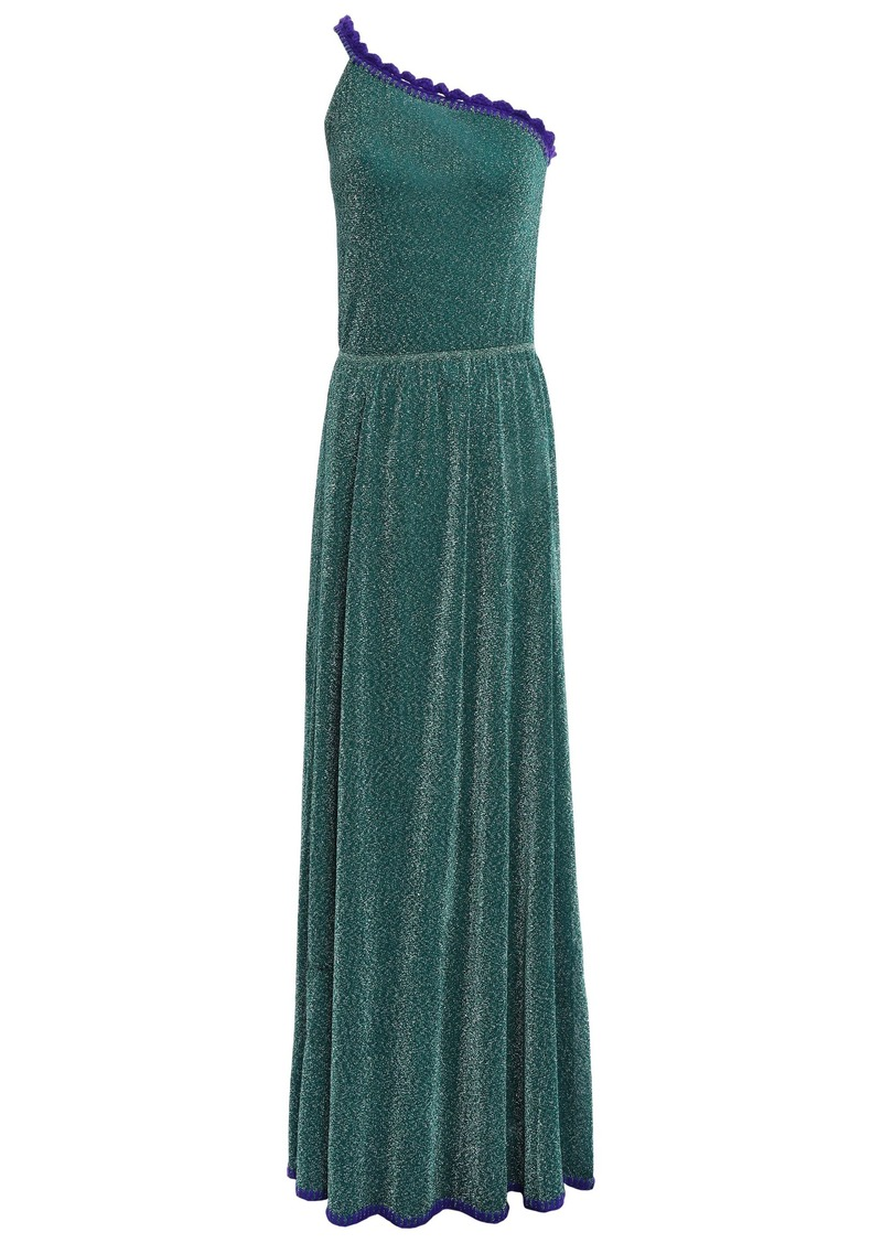 Missoni Woman One-shoulder Metallic Stretch-knit Maxi Dress Emerald