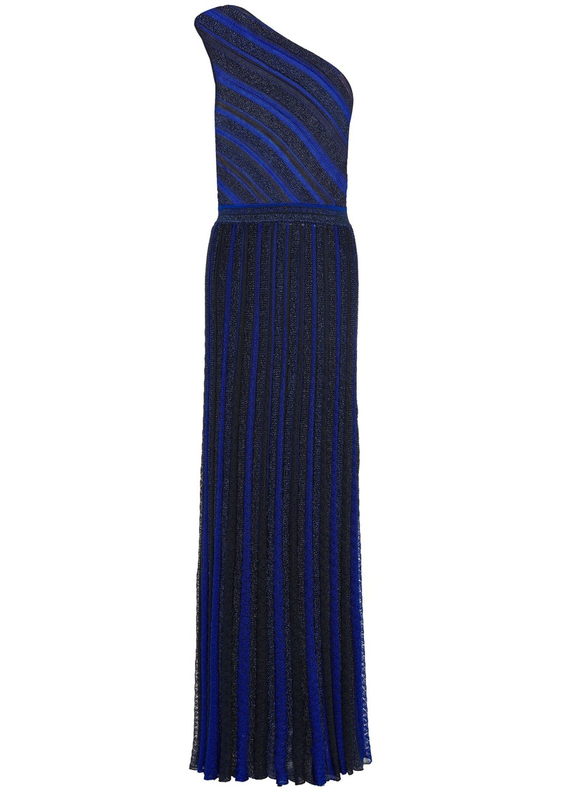 Missoni Woman One-shoulder Metallic Striped Crochet-knit Maxi Dress Navy