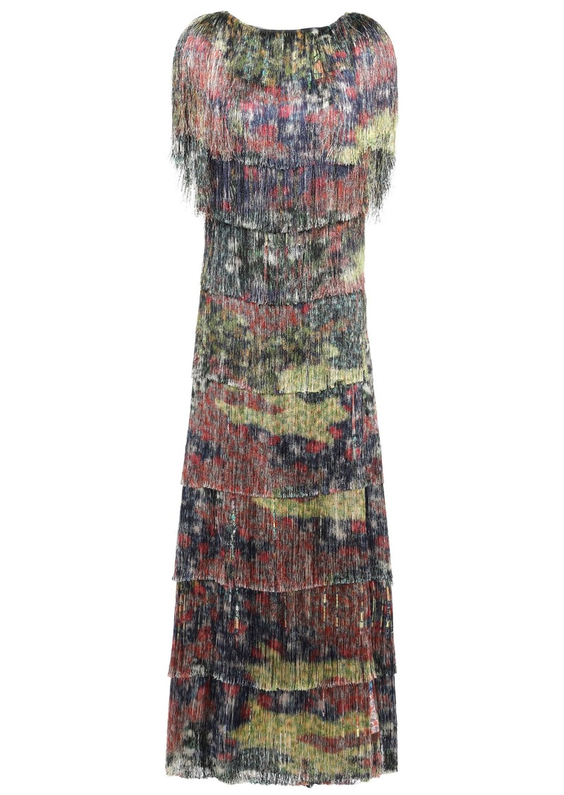 Missoni Woman Open-back Fringed Crepe Maxi Dress Multicolor