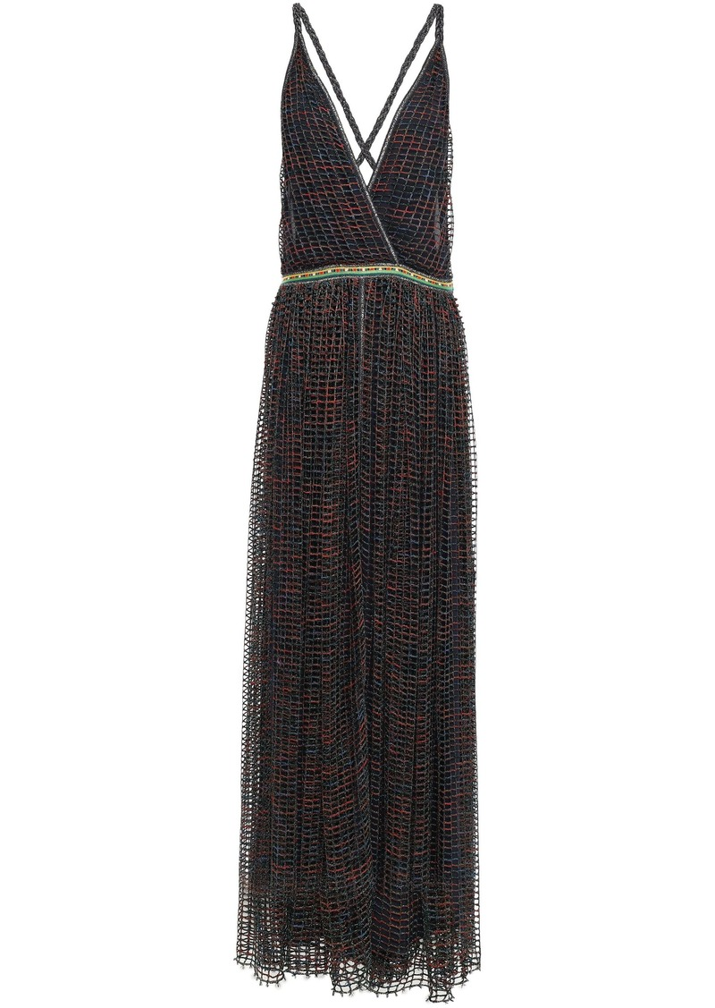 Missoni Woman Open-back Metallic Open-knit Maxi Dress Navy