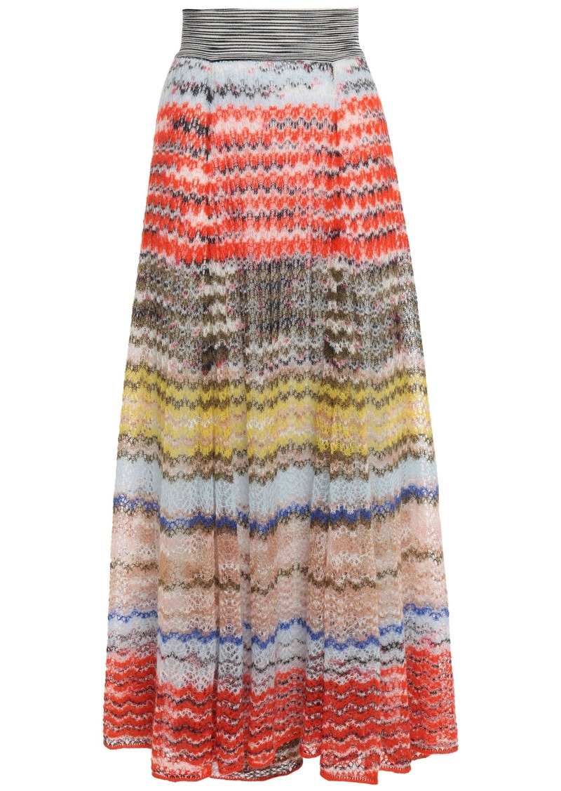 Missoni Woman Crochet-knit Maxi Skirt Orange
