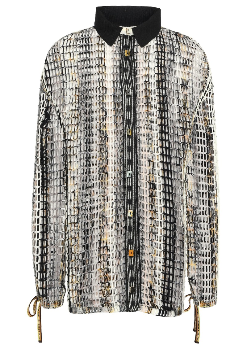 Missoni Woman Open-knit Wool-blend Shirt Black