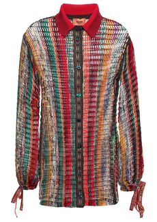Missoni Woman Open-knit Wool-blend Shirt Multicolor