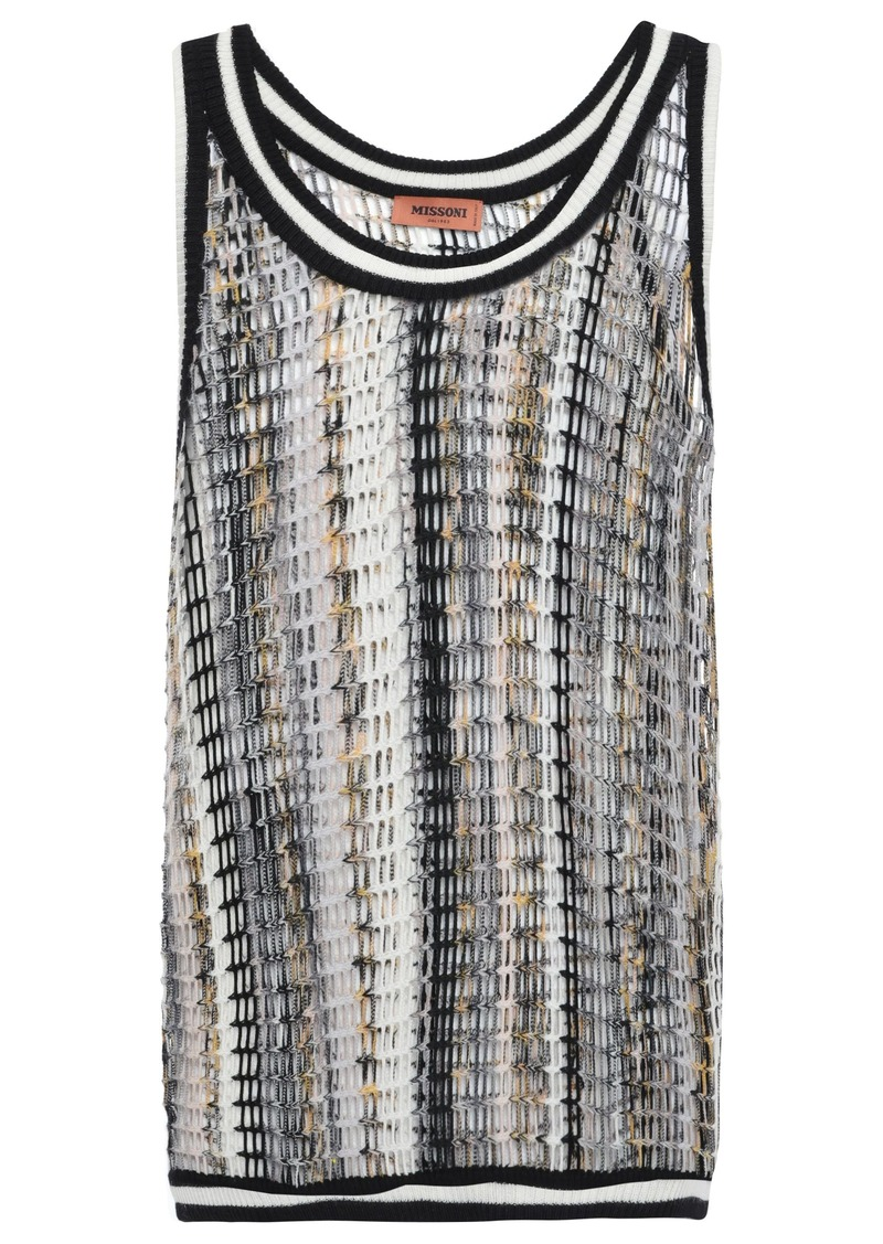 Missoni Woman Open-knit Wool-blend Tank Black
