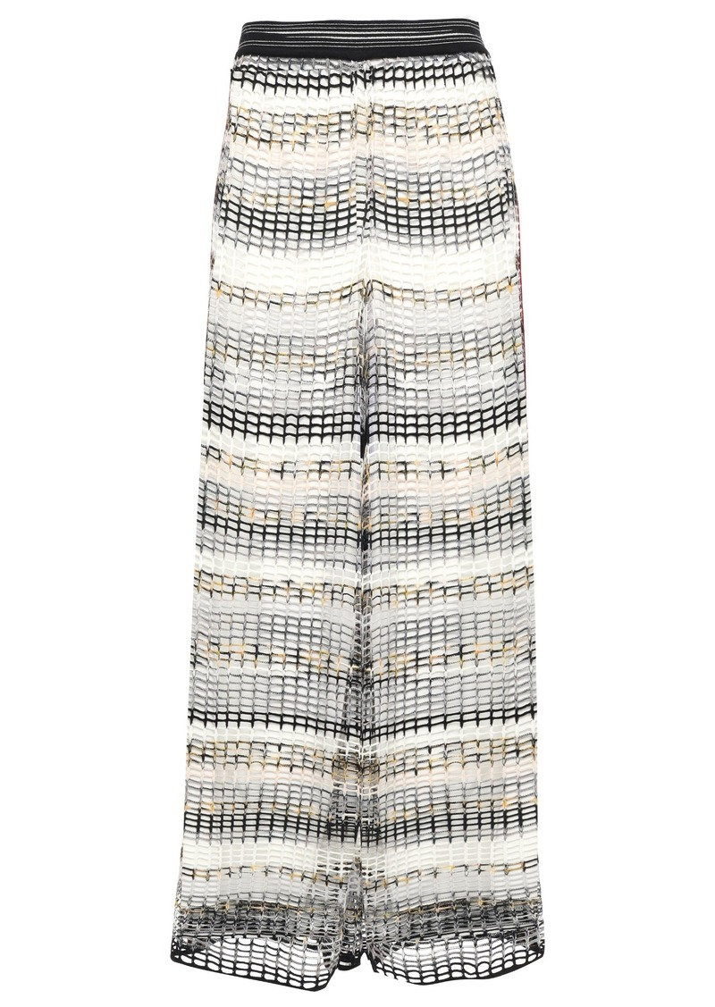 Missoni Woman Open-knit Wool-blend Wide-leg Pants White