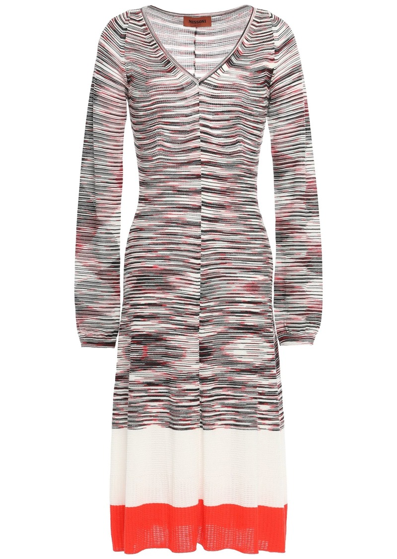Missoni Woman Intarsia Wool-blend Dress Papaya