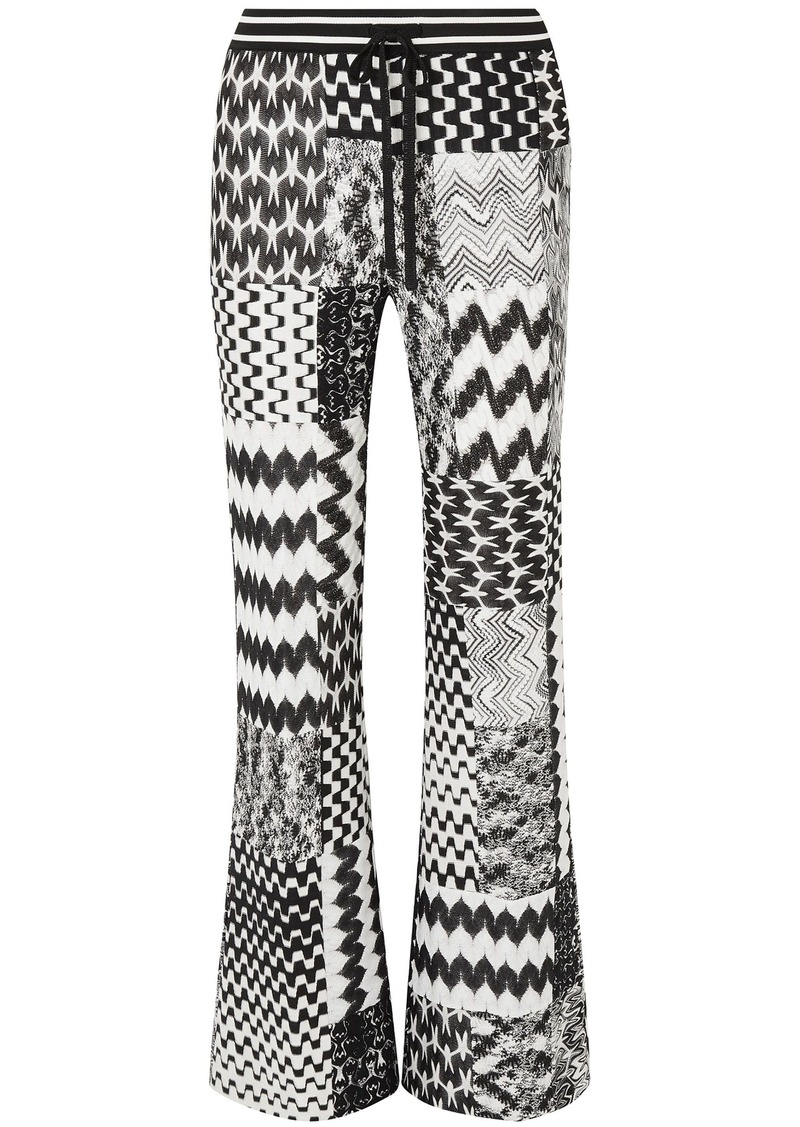 Missoni Woman Patchwork Crochet-knit Flared Pants Black